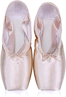 BININBOX Girl's Canvas Ballet Dance Toe Shoes Professional Satin Pointe Shoes