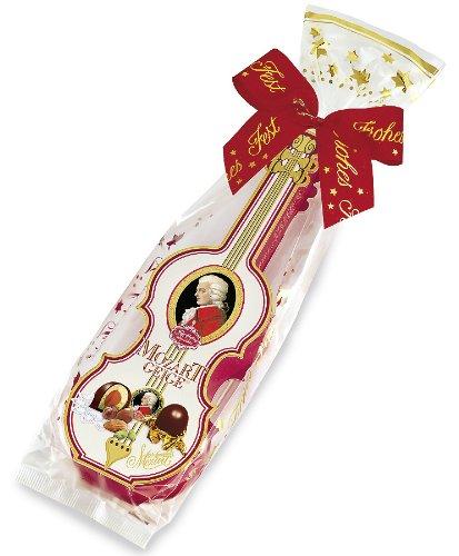 Reber Mozart-Geige mit Schleife, Echte Reber Mozart-Kugeln, Weihnachts-Edition, Pralinen aus Zartbitter-Schokolade, Marzipan, Nougat, Tolles Geschenk, 7er-Packung