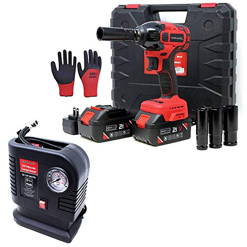 """Toolman Lithium-ion cordless Power Impact Wrench kit 1/2"""" 21V 2 Batteries+250 PSI Portable Mini Air Compressor Tire Inflator Pump for balls, Bicycles, Motorcycles, cars ZTP010Q36"""