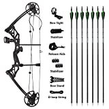 MILAEM Archery Compound Bow Hunting Bow 30-70lbs Adjustable with Carbon Arrows Adult Bow