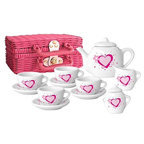 Childs Tea Set: Pink and White Porcelain Tea Set by Sweetheart Tea Set
