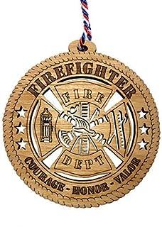 Jolette Designs Firefighter Christmas Ornament, Fireman Wooden Tree Decor Gifts for Fire Fighter, EMT, Men, Women, Graduat...