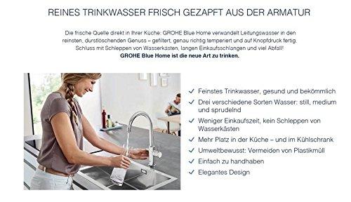 Grohe Blue Home Duo – 2-in-1 Trinkwassersystem und Küchenarmatur (gekühlt, gefiltert, mit Kohlensäure, C-Auslauf) 31455000 - 9
