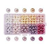PandaHall Lot de 230pcs 10 Couleurs Perle en Verre Perle Rond Perles Lisses en Satin Minuscules pour DIY Fabrication de Bijoux Collier Bracelet, 8mm, Trou: 0.7mm