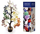 ZAICUS Seven Chakra Gemstone Money Tree Feng Shui Bonsai for Crystal Healing Energy Generator Spiritual Chakra Home Office Interior Decor Ideal Gift 10-12 Inch