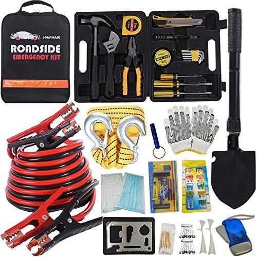 Kit de ferramentas de emergência HAIPHAIK – Conjunto de cabos essenciais de emergência para carro kit de estrada de emergência multiuso conjunto de cabos de elevação de 30 cm (atualização) kit de emergência para estrada 124 peças