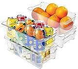 Fridge Organizer with Handles BPA FREE - Pantry Organizer Stackable Storage Fridge Bins - 4 Pack Stackable Freezer Organizer Plastic Storage Bins