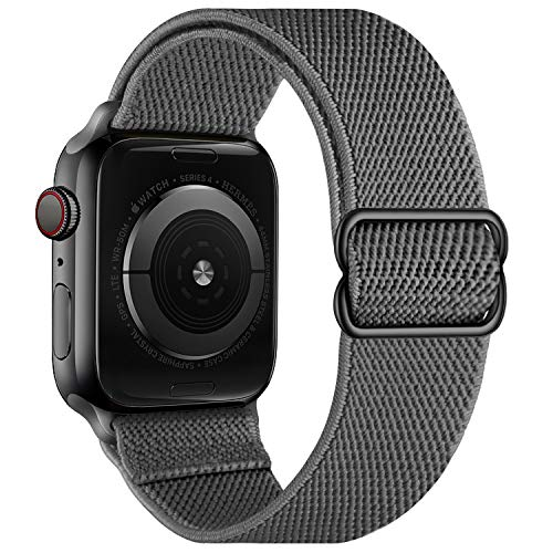 OXWALLEN Stretchy Nylon Solo Loop Compatible with Apple Watch Band 38mm 40mm, Adjustable Sport Straps for iWatch SE Series 6/5/4/3/2/1, Women, Men- DarkgrayXL-XXL