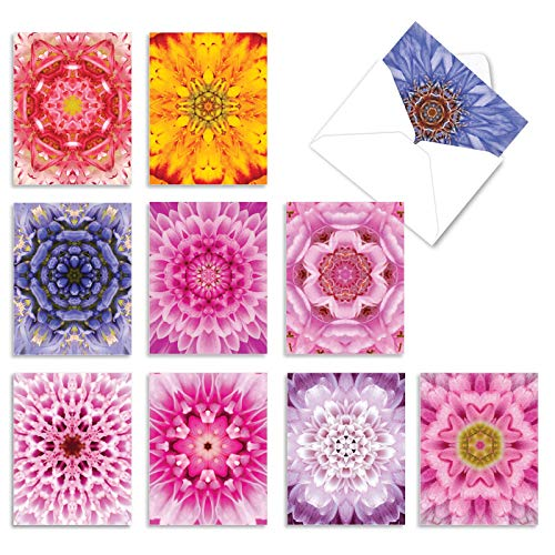 The Best Card Company - 10 Flower All Occasion Blank Cards (4 x 5.12 Inch) - Boxed Cards with Envelopes - Bloomoscopic M6033