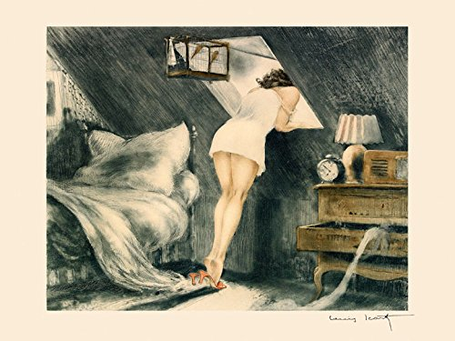 Fashion Lady Girl Looking Through the Window Bedroom with Birds by Louis Icart 12' X 16' Image Size. Art Repro