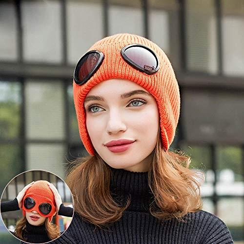 Yidajiu Winter Hoed Warm Knitt Hoed Vrouwen Pilot Zwart Oor Flap Hoed met Bril Mode Oor Muff Hoed Brei-oranje