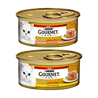 Includes 12 x 85g Gourmet Gold melting heart chicken and 12 x 85g Gourmet Gold melting heart chicken Your cat will love these delicate pâtés with a surprising centre of juicy gravy Complete and balanced cat food for adult cats aged 1 to 7 Delicious t...