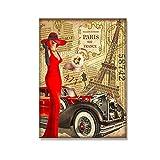 Paris France Girl in Red Eiffel Tower Car Retro Travel Canvas Painting Home Collectible Wall Decor Poster Print para sala de estar-50x70 cm x1 Sin marco