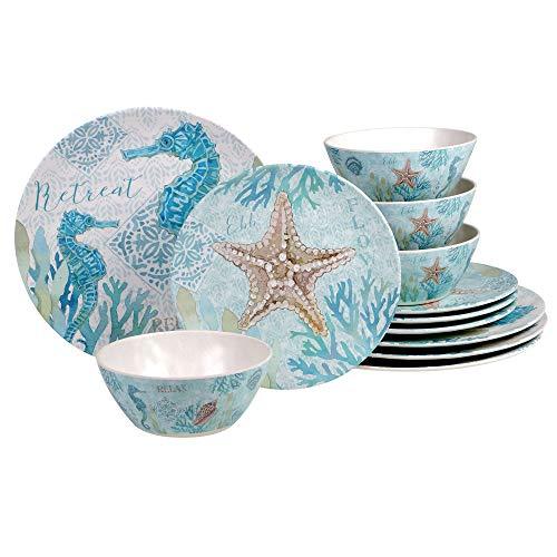 Certified International Beachcomber 12 piece Melamne Dinnerware Set, Service for 4, Multi Colored
