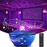 Star Projector Night Light, Delicacy Galaxy Projector Ocean Wave Starry Sky Projector with Bluetooth Speaker,Rotating LED Nebula Cloud Light for Kids Adults Bedroom Decoration - Blue