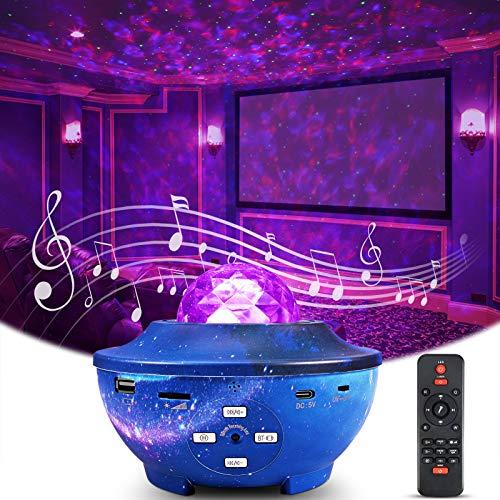 LED Sternenlicht Projektor, Delicacy Rotierende Wasserwellen Nachtlichter, Ferngesteuerte Projektionslampe, Farbwechsel Musikspieler mit Bluetooth & Timer, für Dekoration Kinder Erwachsene Zimmer