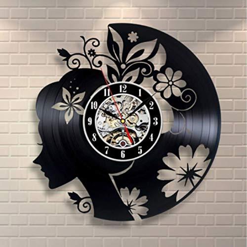 BFMBCHDJ Reloj de Registro Hecho a Mano Exclusivo de niña de Las Flores clásico Reloj Creativo Decorativo 3D Colgante Reloj de Pared con Registro de Vinilo LED