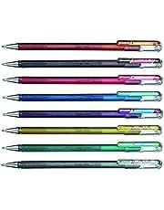 Pentel Hybrid dubbel metallisk flytande gelpenna YK110/8-M – paket med 8 pennor i 16 skimrande metalliska färger