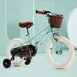 Bicicleta Niño Aluminio para Niños Y Niñas, Bicicleta Aprendizaje 14' 16', Bici con Freno Bici De Montaña Ruedas Auxiliares,Verde,16'