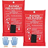 Aotala Fire Blanket Emergency Surival Fire Blankets Fiberglass Flame Retardant Protection and Heat Insulation for Kitchen,Fireplace,Grill,Car,Camping (2Pack)
