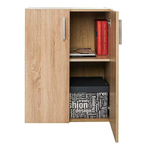 COSTWAY Armario con Puertas Librería Multiusos Estantería de Pie con Estante Ajustable Gabinete para Dormitorio Oficina Salón 60x77x32cm (Natural)