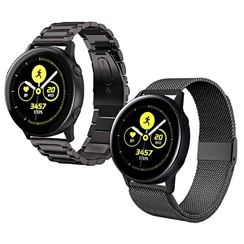 Acestar Compatible Samsung Active 2 Watch Bands 40mm/44mm,20mm Stainless Steel Metal Band+ Mesh Strap Bracelet Replacement for Samsung Galaxy Watch Active 2 Bands Women Men/Galaxy Watch 42mm Bands