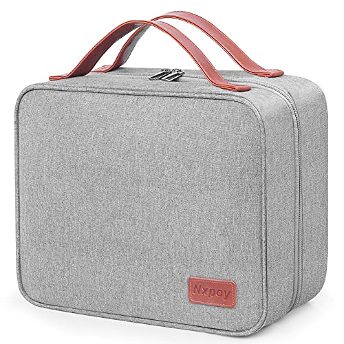 Toiletry Bag, Nxpoy Travel Toiletry Organizer with Hanging Hook, Makeup Bag for Women and Men, Large Cosmetic Bag with 4 Compartments, Waterproof Shower Bags for Toiletries Kit, Accessories, Grey