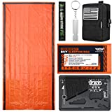 EVERLIT Bivy Sack Mylar Thermal Blanket Emergency Sleeping Bag Survival Kit, Glow Stick, Emergency Whistle, Multifunctional Tool Card, Tactical Pouch Perfect for Camping Hiking Outdoor (Black)