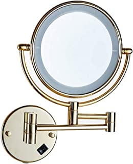 Vanity Mirror Wall-Mounted Makeup MirrorLED Lamp 360 Degree Rotating Bracket Nail-Free Perforated Dual-use Double-Sided Copper HD for Family (Color : Gold)