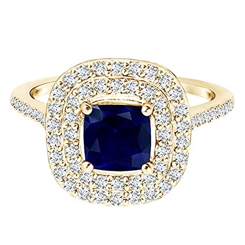 Anillo de compromiso de oro amarillo de 9 quilates con doble halo de piedras preciosas de zafiro azul de 1,30 quilates (Oro amarillo, 13.5)