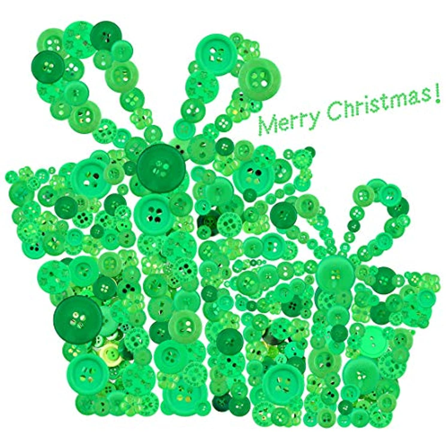 Glarks 1000-Pieces Christmas Buttons 2 Holes and 4 Holes Green Round Craft Resin Buttons for Sewing Scrapbooking Christmas DIY Craft Decoration (Green)