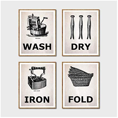 DLFALG Impresiones de lavandería para lavar y secar, planchar y doblar carteles antiguos, cuadros de pintura en lienzo, decoración de pared para sala de lavandería, 30x40cmx4 sin marco