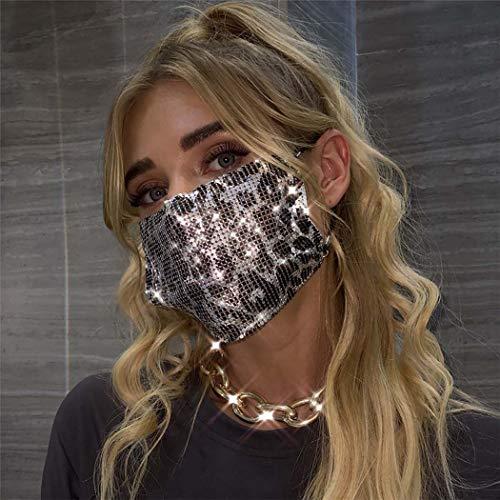 Sethexy Funkelnd Silber Leopard Paillette Netzmaske Pailletten Maskerade Party Nachtclub Halloween Zubehör Karneval Kristallmasken für Frauen und Mädchen