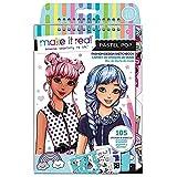 Make It Real – Fashion Design Sketchbook: Pastel Pop. Inspirational Fashion Design Coloring Book for Girls. Includes Sketchbook, Stencils, Puffy Stickers, Foil Stickers, and Fashion Design Guide
