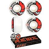Spitfire 52mm Wheels Bighead White/Red Skateboard Wheels - 99a with Bones Bearings - 8mm Bones Reds Precision Skate Rated Skateboard Bearings (8) Pack - Bundle of 2 Items