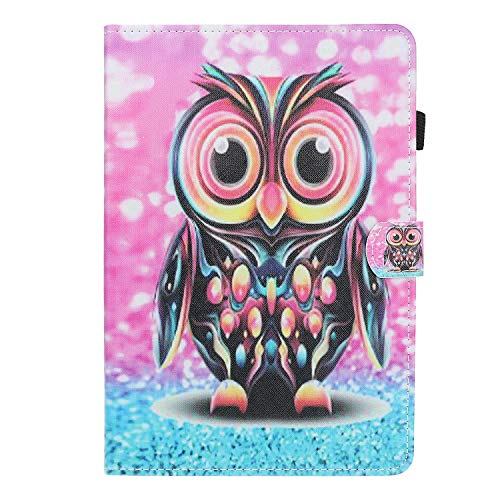 HülleFun Hülle für Huawei MediaPad T5 10, PU Leder Tasche Hülle Etui Schutzhülle für Huawei MediaPad T5 10.1 Zoll Tablet Hülle Cover Bookstyle Lederhülle mit Standfunktion, Eule