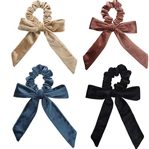 WELROG 4 Stücke Frauen Haar Haargummis Haar Krawatten Kopfverpackung Gummibänder Haar Zubehör (Kaffee/Kamel/Blau/Schwarz)