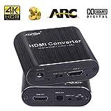 ADPOW HDMI音声分離器「HDMI入力→HDMI+Toslink/SPDIF+3.5mm音声出力」HDMIデジタルオーディオ分離器 4K 60Hz HDR対応 7.1ch DTS/Dolby5.1/LPCM7.1対応 ARC機能 2RCA変換ケーブル付き