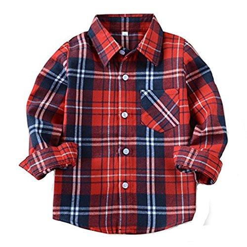 HAOKTY Jungen Mädchen Langarm Hemden Plaid Kariert Freizeithemd Tops Baumwolle Sweat Shirt (Color 2, 150)