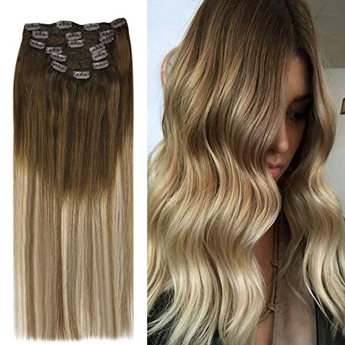 YoungSee 100% Echt Haar Extensions Clip in Ombre Balayage - Dunkelbraun bis Mittebraun mit Blond Doppelt Tressen Remy Haarverlangerung Echthaar Clips - Balayage Clip in Hair Extensions 7pcs/120g 40cm