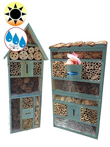 ÖLBAUM 2X XXL insektenhotel - Bienenhotel, mit Lotus+2xBrutröhrchen, TÜRKIS meeresblau blau 2 x XXL Insektenhotels, Spitzdach groß + Flachdach hohe Form