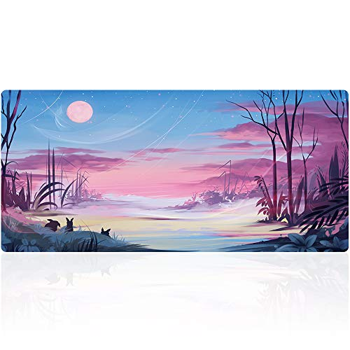 """TIMOR Professional Gaming Mouse Pad, Custom Design Stitched Edges Waterproof Non-Slip Rubber Base Mousepad Great for Laptop, Computer & PC, 35.4""""x15.7"""" (90x40 pinktk023)"""