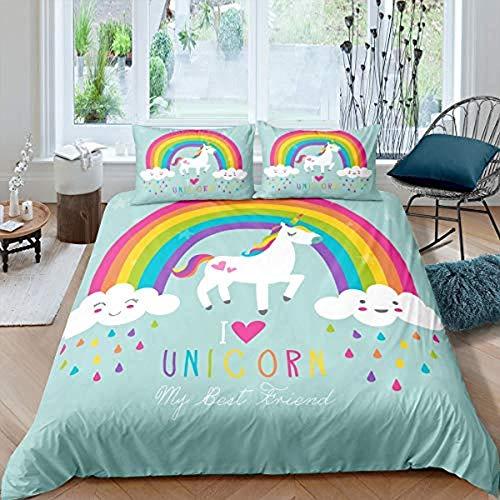 dsgsd copripiumone matrimoniale Unicorno carino arcobaleno 260x240 cm Set di biancheria da letto Lenzuola per adolescenti Lenzuolino per bambini Federa per ragazzi Set copripiumino singolo Twin Full S