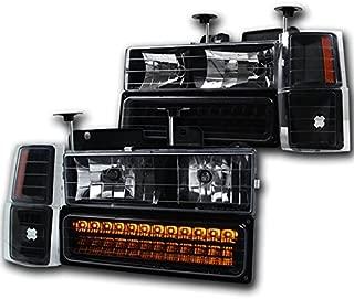 ZMAUTOPARTS C/K C Silverado Suburban Crystal Headlight+LED Bumper+Corner Black/Amber