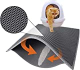 """Cat Litter Mat Litter Boxes Trapper Mat Trapper Size 24"""" X15"""", Honeycomb Double-Layer Waterproof Urine Proof Material, Easy Clean Washable and Floor Carpet Protection (Light Grey)"""