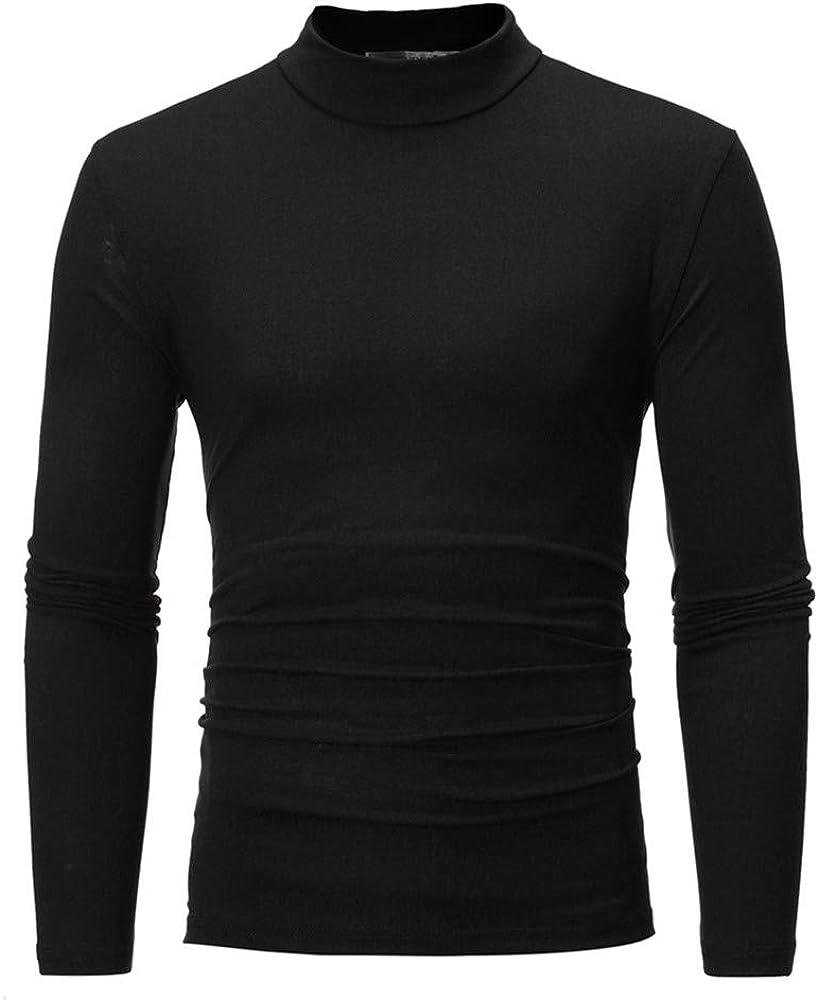 MODOQO Men's Turtleneck Long Sleeve T-Shirt Pullover Casual Solid Sweatshirt Tops