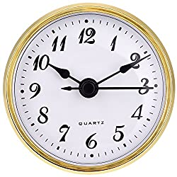 Hicarer 2.8 Inch/ 70 mm Quartz Clock Insert, Gold Trim, Arabic Numeral, Quartz Movement (Gold Trim)