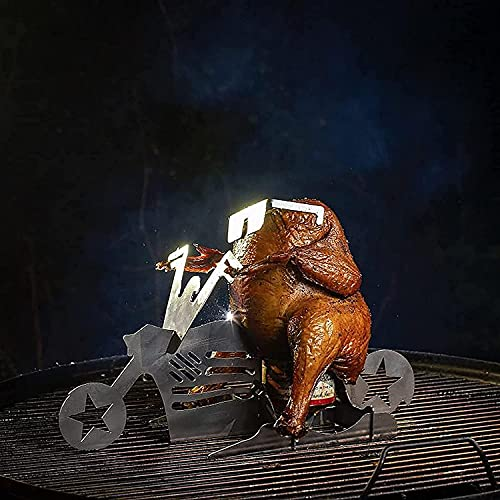 Mzeyuan Beer Can Chicken Stand - Portable Beer American Motorcycle BBQ Stainless Steel Beer Can Chicken Holder with Glasses - Beer Butt Chicken Stand Rack Grill Oven Roasting Utensil (B)