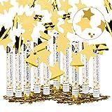 Relaxdays Pack de 10 Cañones Confeti para Lluvia de Estrellas en Bodas y Cumpleaños, Dorado, 6-8 m Altura, 40 cm