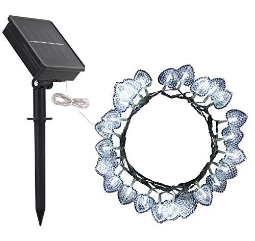 Coeur Guirlandes Lumineuses Décoration,DINOWIN Solaire Guirlande Extérieur Lumineuses 30 LED Cœur avec 8 modes éclairage d'ambiance (blanc)